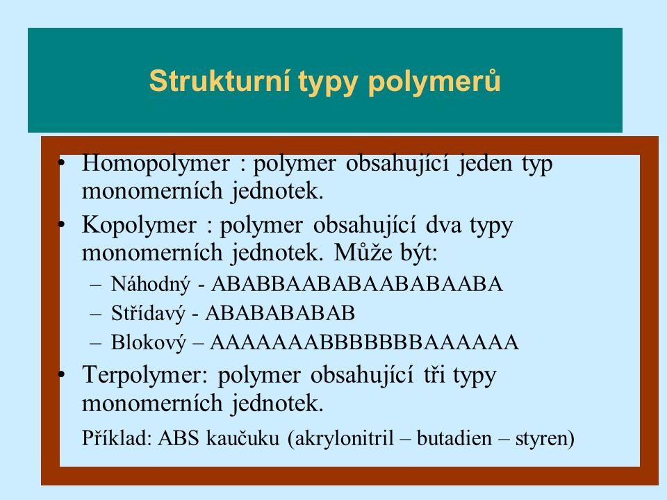 Homopolymer : polymer obsahující jeden typ monomerních jednotek. Kopolymer : polymer obsahující dva typy monomerních jednotek. Může být: –Náhodný - AB
