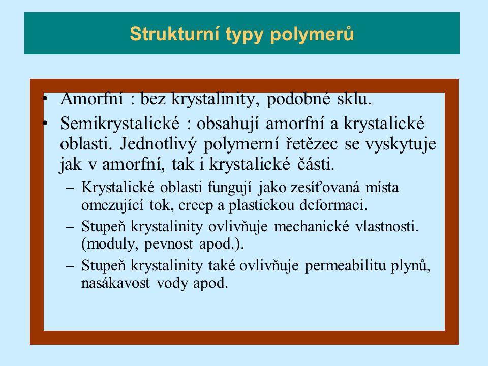 Amorfní : bez krystalinity, podobné sklu. Semikrystalické : obsahují amorfní a krystalické oblasti. Jednotlivý polymerní řetězec se vyskytuje jak v am