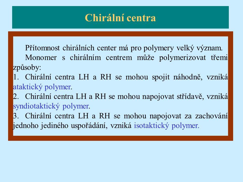 Přítomnost chirálních center má pro polymery velký význam. Monomer s chirálním centrem může polymerizovat třemi způsoby: 1.Chirální centra LH a RH se