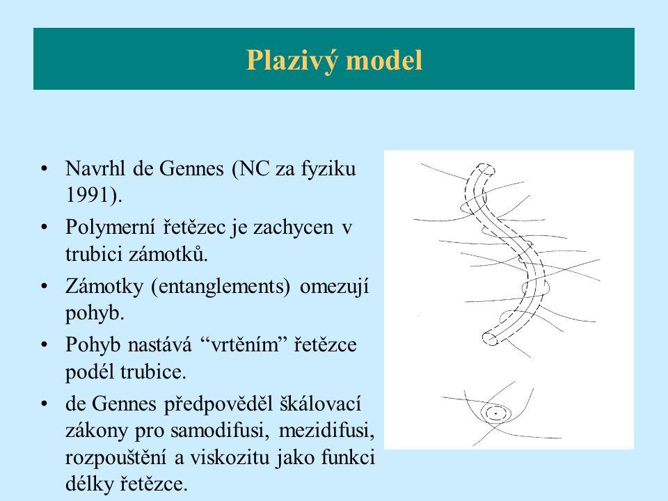 """Navrhl de Gennes (NC za fyziku 1991). Polymerní řetězec je zachycen v trubici zámotků. Zámotky (entanglements) omezují pohyb. Pohyb nastává """"vrtěním"""""""