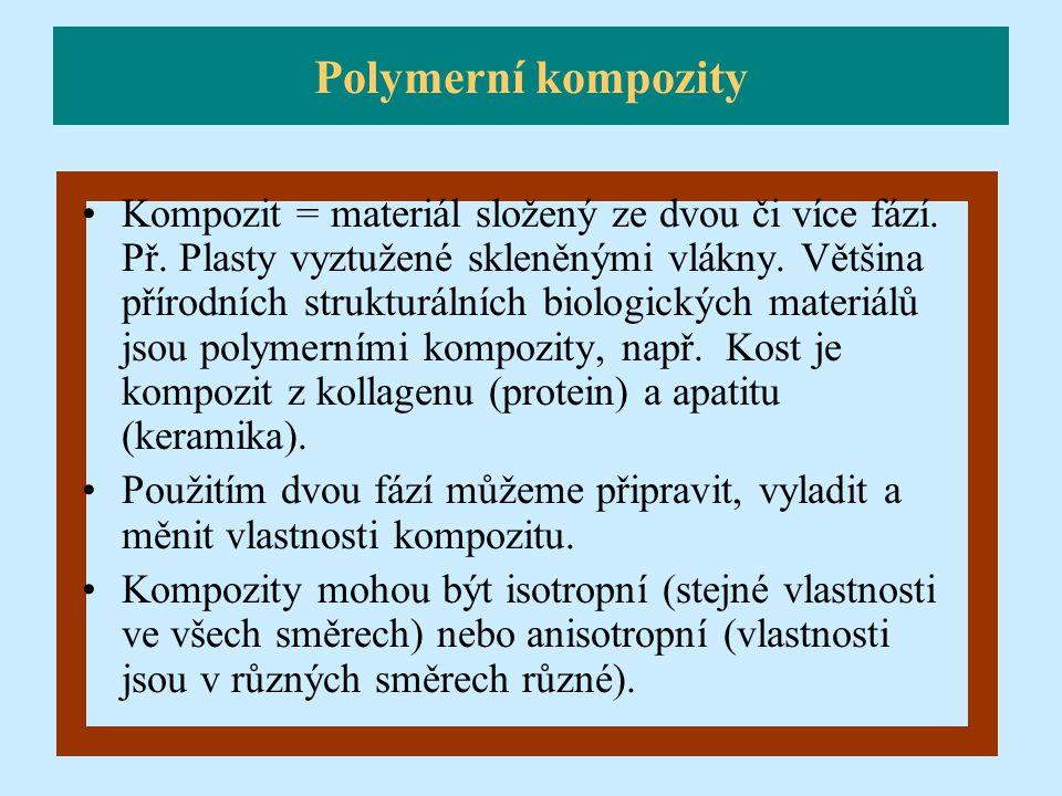 Kompozit = materiál složený ze dvou či více fází. Př. Plasty vyztužené skleněnými vlákny. Většina přírodních strukturálních biologických materiálů jso