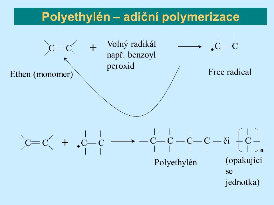 Polyethylén – adiční polymerizace CC Ethen (monomer) CCCC Polyethylén či C n. CC Free radical. CC CC + (opakující se jednotka) Volný radikál např. ben