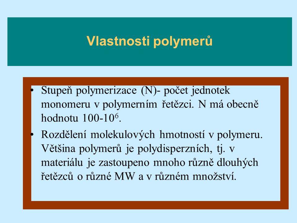Stupeň polymerizace (N)- počet jednotek monomeru v polymerním řetězci. N má obecně hodnotu 100-10 6. Rozdělení molekulových hmotností v polymeru. Větš