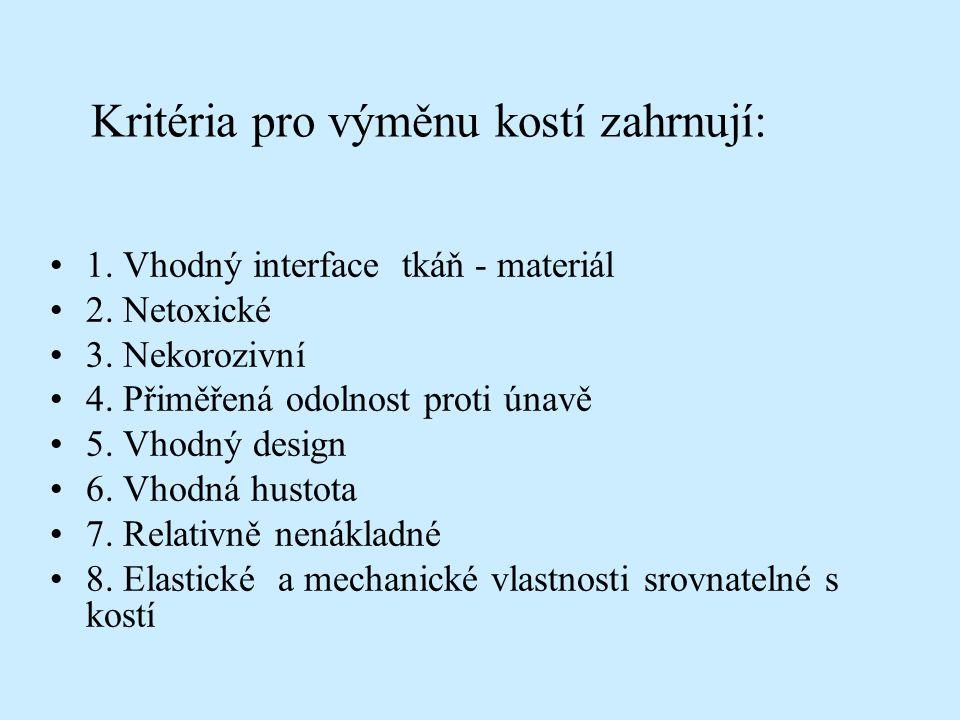 Kritéria pro výměnu kostí zahrnují: 1. Vhodný interface tkáň - materiál 2. Netoxické 3. Nekorozivní 4. Přiměřená odolnost proti únavě 5. Vhodný design