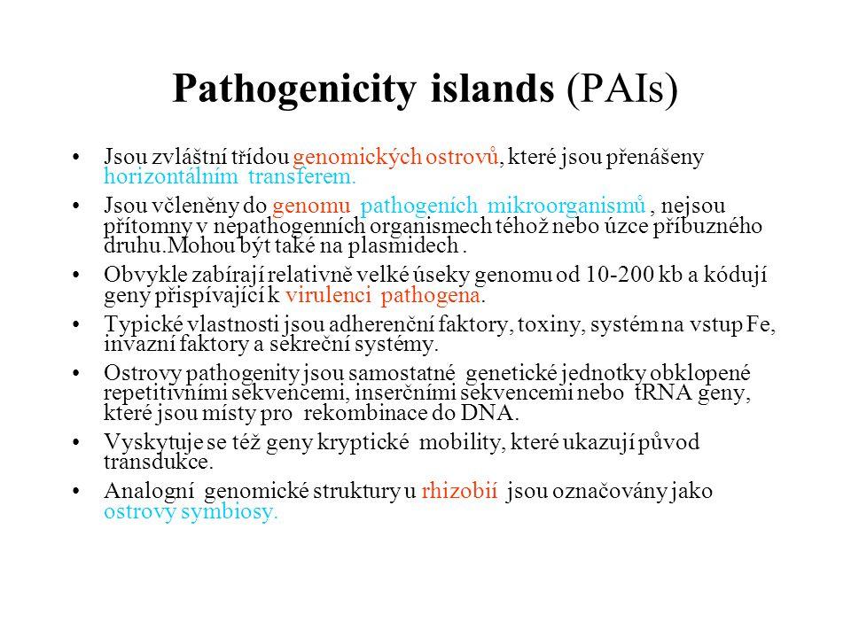 Pathogenicity islands (PAIs) Jsou zvláštní t ř ídou genomických ostrovů, které jsou přenášeny horizontálním transferem.
