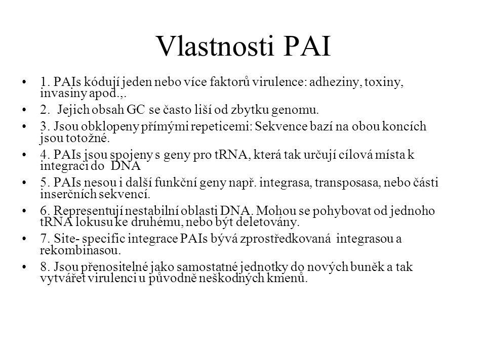 Vlastnosti PAI 1.PAIs kódují jeden nebo více faktorů virulence: adheziny, toxiny, invasiny apod.,.