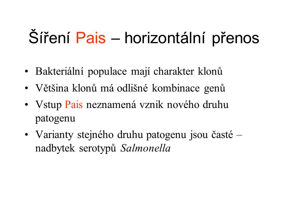 Šíření Pais – horizontální přenos Bakteriální populace mají charakter klonů Většina klonů má odlišné kombinace genů Vstup Pais neznamená vznik nového druhu patogenu Varianty stejného druhu patogenu jsou časté – nadbytek serotypů Salmonella