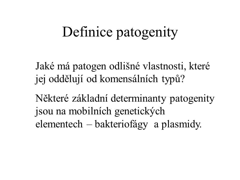 Definice patogenity Jaké má patogen odlišné vlastnosti, které jej oddělují od komensálních typů.