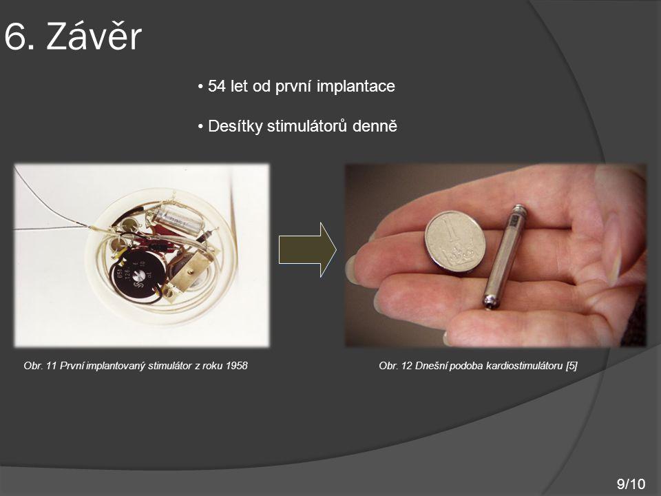 6. Závěr Obr. 11 První implantovaný stimulátor z roku 1958 Obr. 12 Dnešní podoba kardiostimulátoru [5] 9/10 54 let od první implantace Desítky stimulá