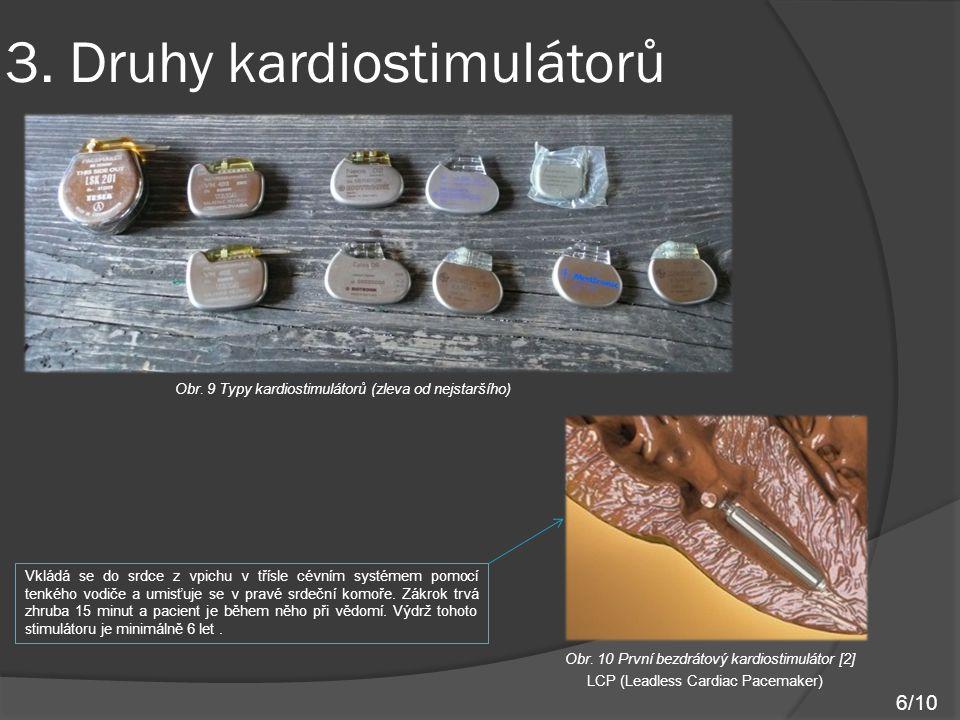 3. Druhy kardiostimulátorů Obr. 9 Typy kardiostimulátorů (zleva od nejstaršího) Obr. 10 První bezdrátový kardiostimulátor [2] LCP (Leadless Cardiac Pa