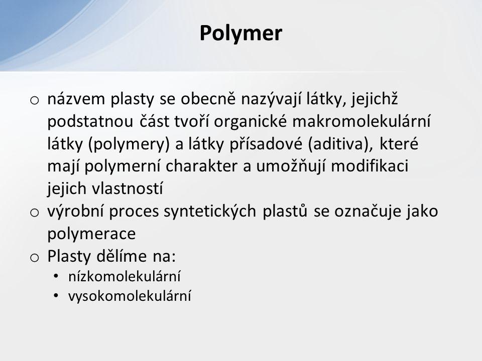 o názvem plasty se obecně nazývají látky, jejichž podstatnou část tvoří organické makromolekulární látky (polymery) a látky přísadové (aditiva), které