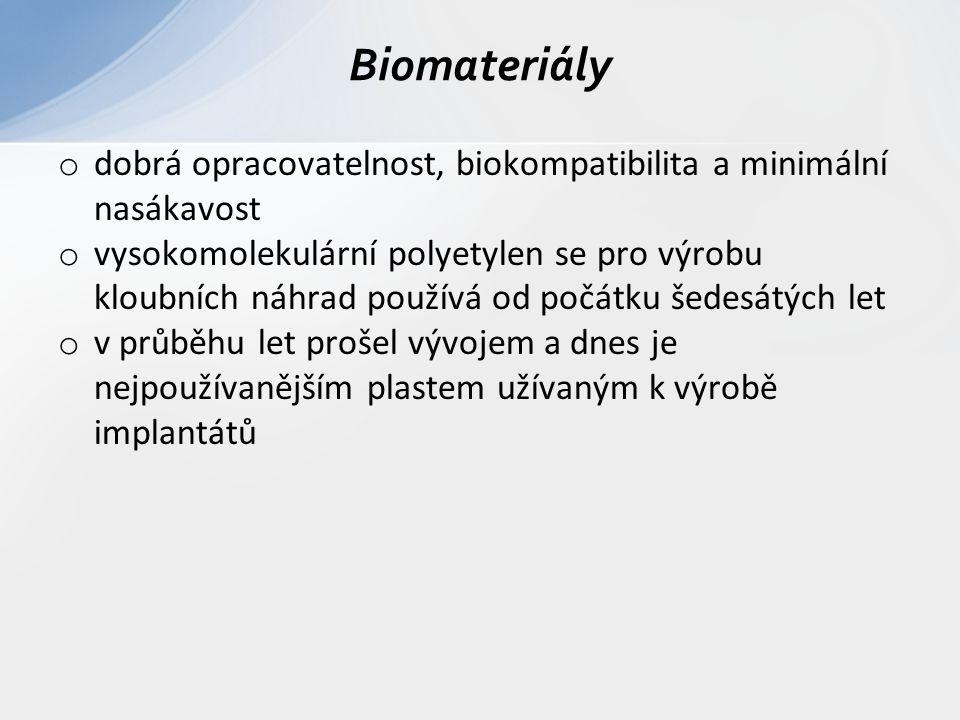 o dobrá opracovatelnost, biokompatibilita a minimální nasákavost o vysokomolekulární polyetylen se pro výrobu kloubních náhrad používá od počátku šede