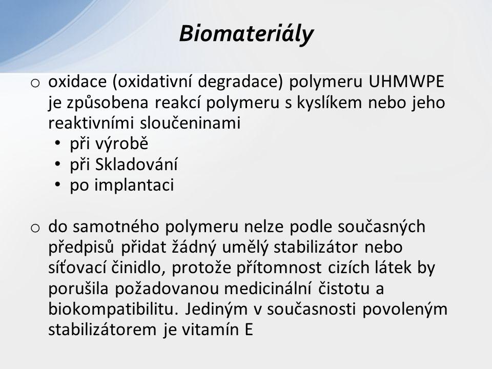 o oxidace (oxidativní degradace) polymeru UHMWPE je způsobena reakcí polymeru s kyslíkem nebo jeho reaktivními sloučeninami při výrobě při Skladování