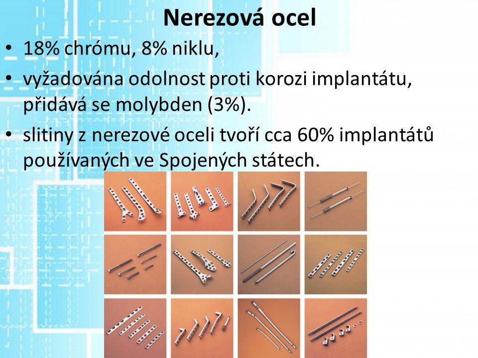 Nerezová ocel 18% chrómu, 8% niklu, vyžadována odolnost proti korozi implantátu, přidává se molybden (3%). slitiny z nerezové oceli tvoří cca 60% impl