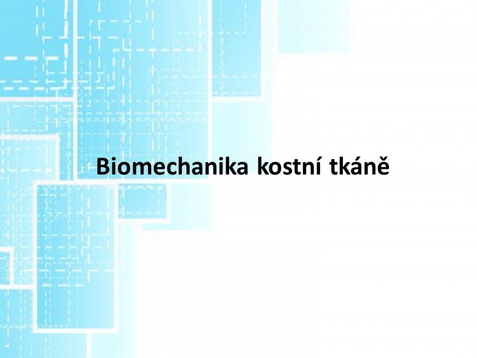 Mechanický pohled na kost – nehomogenní, anizotropní materiál žlutobílé barvy skládající se z organické a anorganické složky (kompositní materiál) Organická složka – buňky a matrice - vláknitá část = kolagen a interfibriální část – pružnost a odolnost na ohyb Anorganická (minerální ) složka – Fosvorečnan váp., hydroxyapatit – pevnost a tvrdost