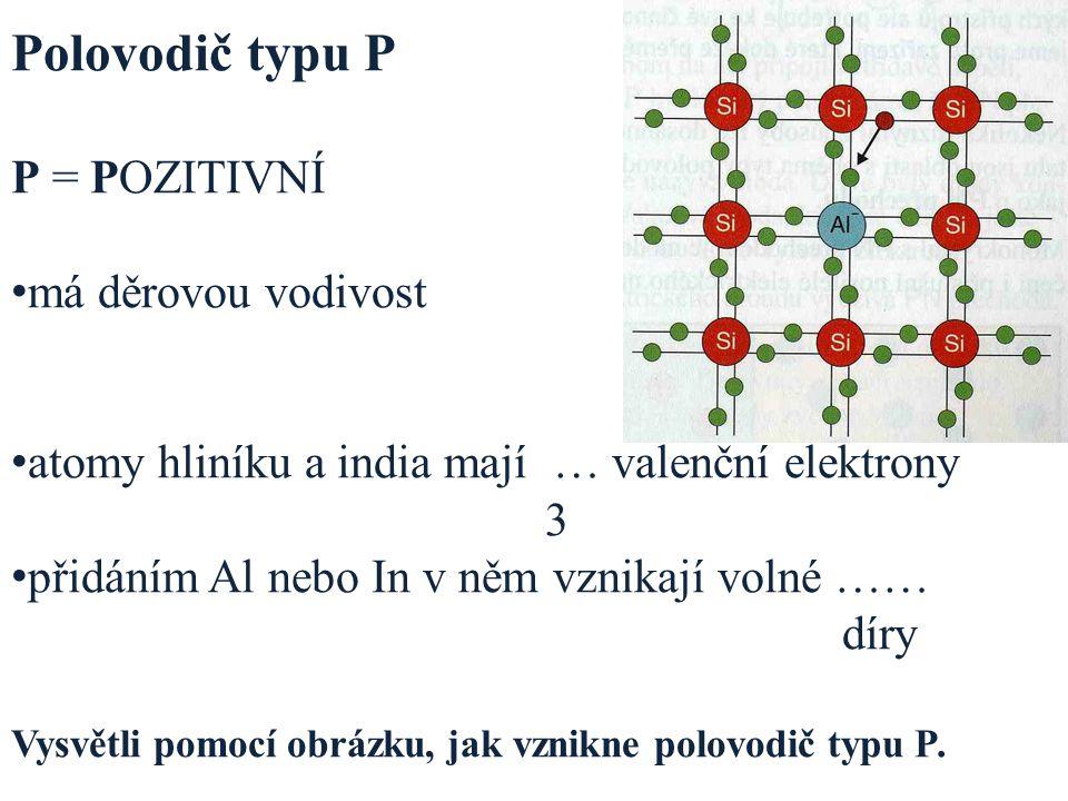Polovodič typu P P = POZITIVNÍ má děrovou vodivost atomy hliníku a india mají … valenční elektrony 3 přidáním Al nebo In v něm vznikají volné …… díry