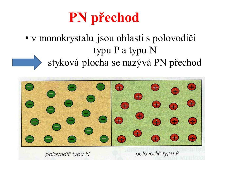 PN přechod v monokrystalu jsou oblasti s polovodiči typu P a typu N styková plocha se nazývá PN přechod