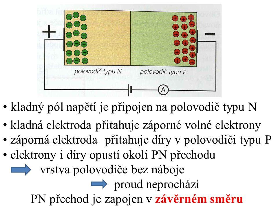 záporný pól napětí je připojen na polovodič typu N kladná elektroda odpuzuje díry a přitahuje volné e - záporná elektroda odpuzuje volné e - a přitahuje díry záporná elektroda dodává do polovodiče N stále nové e - kladná elektroda vytváří v polovodiči P stále nové díry PN přechodem prochází velký proud PN přechod je zapojen v propustném směru