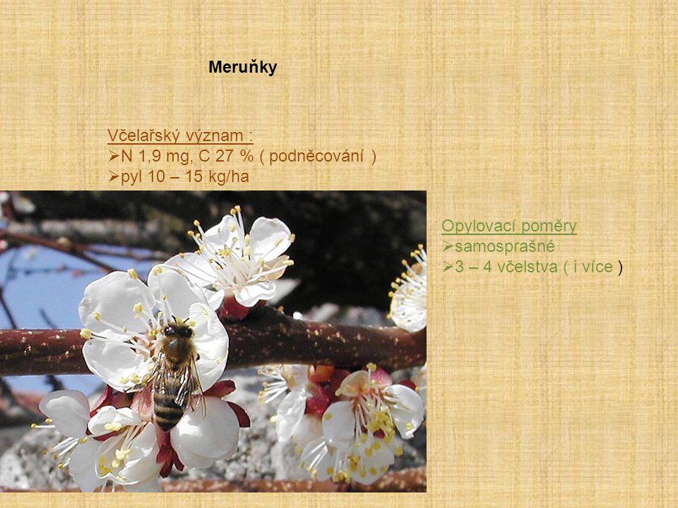 Meruňky Včelařský význam :  N 1,9 mg, C 27 % ( podněcování )  pyl 10 – 15 kg/ha Opylovací poměry  samosprašné  3 – 4 včelstva ( i více )