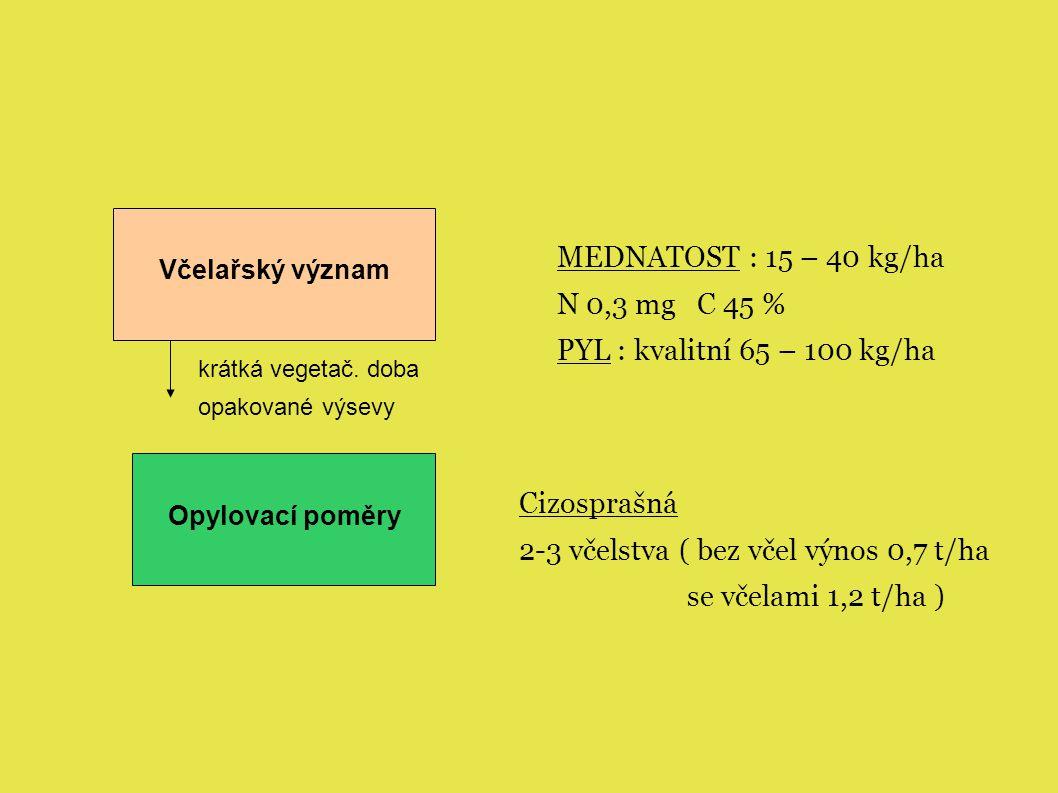 Včelařský význam Opylovací poměry Cizosprašná 2-3 včelstva ( bez včel výnos 0,7 t/ha se včelami 1,2 t/ha ) MEDNATOST : 15 – 40 kg/ha N 0,3 mg C 45 % PYL : kvalitní 65 – 100 kg/ha krátká vegetač.