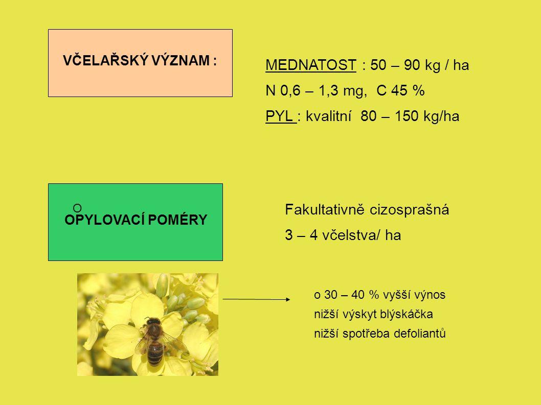 VČELAŘSKÝ VÝZNAM : MEDNATOST : 50 – 90 kg / ha N 0,6 – 1,3 mg, C 45 % PYL : kvalitní 80 – 150 kg/ha OPYLOVACÍ POMÉRY O Fakultativně cizosprašná 3 – 4 včelstva/ ha o 30 – 40 % vyšší výnos nižší výskyt blýskáčka nižší spotřeba defoliantů