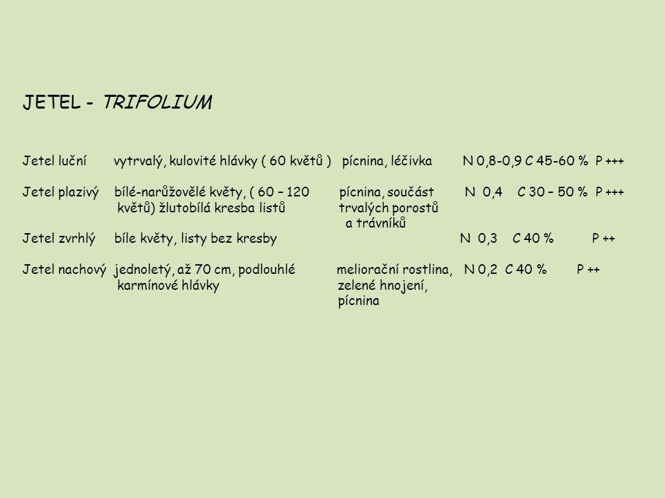 JETEL - TRIFOLIUM Jetel luční vytrvalý, kulovité hlávky ( 60 květů ) pícnina, léčivka N 0,8-0,9 C 45-60 % P +++ Jetel plazivý bílé-narůžovělé květy, (
