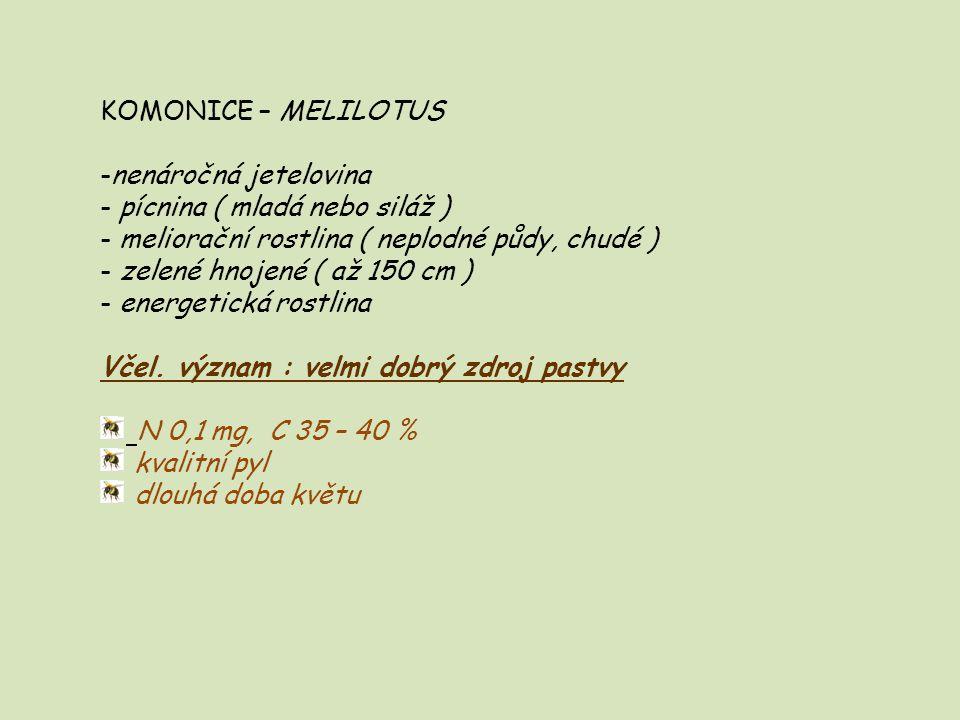 KOMONICE – MELILOTUS -nenáročná jetelovina - pícnina ( mladá nebo siláž ) - meliorační rostlina ( neplodné půdy, chudé ) - zelené hnojené ( až 150 cm