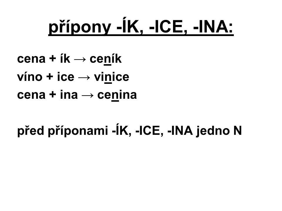 přípony -ÍK, -ICE, -INA: cena + ík → ceník víno + ice → vinice cena + ina → cenina před příponami -ÍK, -ICE, -INA jedno N
