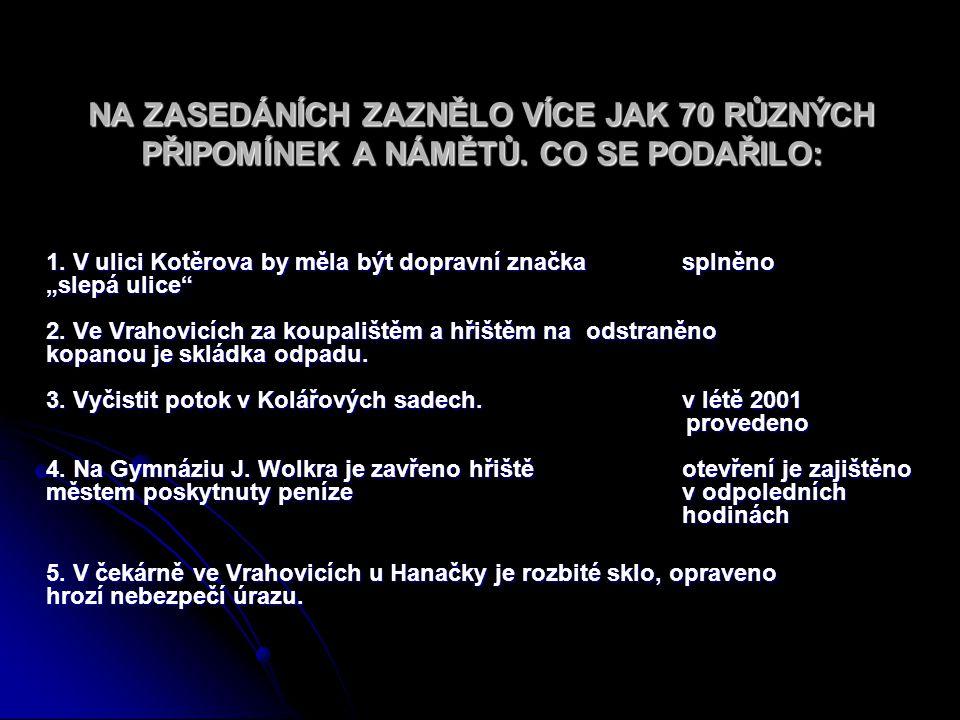 """NA ZASEDÁNÍCH ZAZNĚLO VÍCE JAK 70 RŮZNÝCH PŘIPOMÍNEK A NÁMĚTŮ. CO SE PODAŘILO: 1. V ulici Kotěrova by měla být dopravní značka splněno """"slepá ulice"""" 2"""