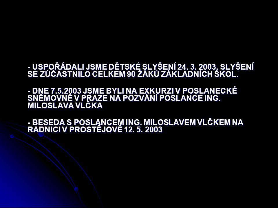 - USPOŘÁDALI JSME DĚTSKÉ SLYŠENÍ 24. 3. 2003.