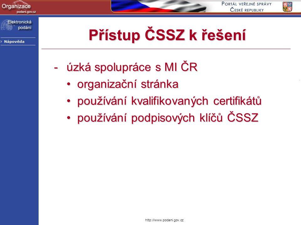 http://www.podani.gov.cz Přístup ČSSZ k řešení -úzká spolupráce s MI ČR organizační stránka organizační stránka používání kvalifikovaných certifikátů