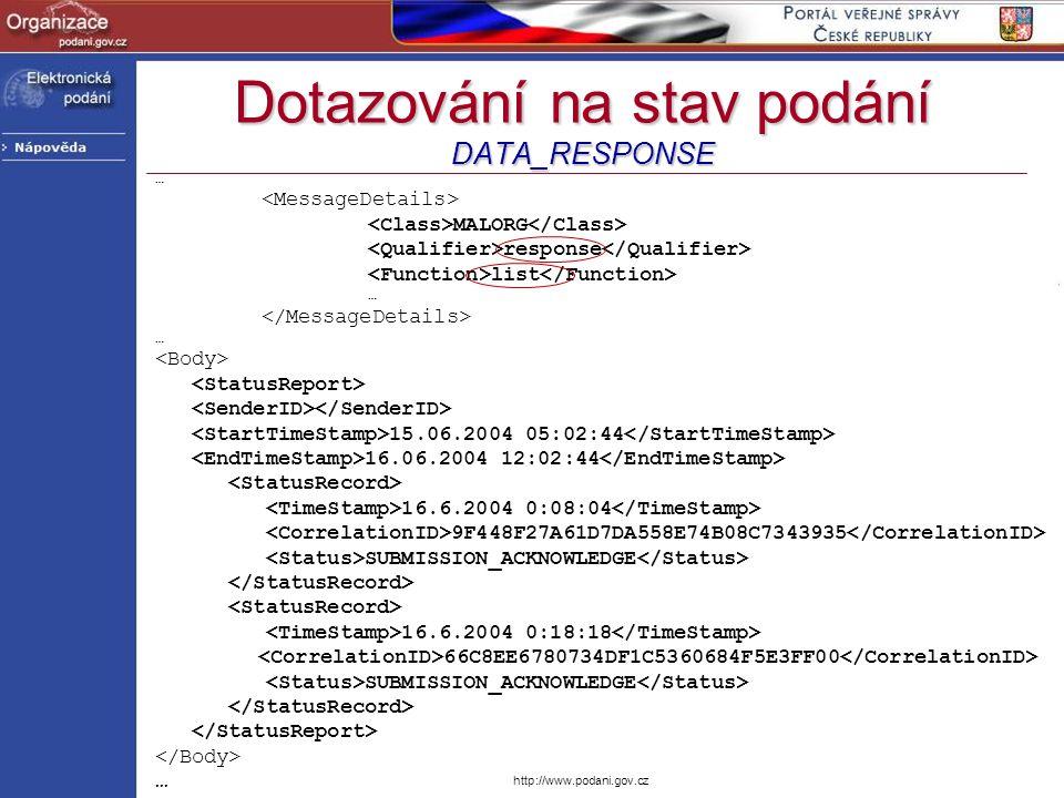 http://www.podani.gov.cz Dotazování na stav podání DATA_RESPONSE … MALORG response list … … 15.06.2004 05:02:44 16.06.2004 12:02:44 16.6.2004 0:08:04