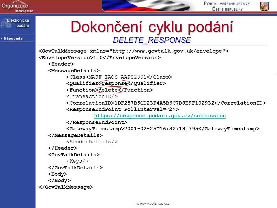 http://www.podani.gov.cz Dokončení cyklu podání DELETE_RESPONSE 1.0 MAFF-IACS-AAPS2001 response delete 1DF257B5CD23F4A5B6C7D8E9F102932 https://bezpecn