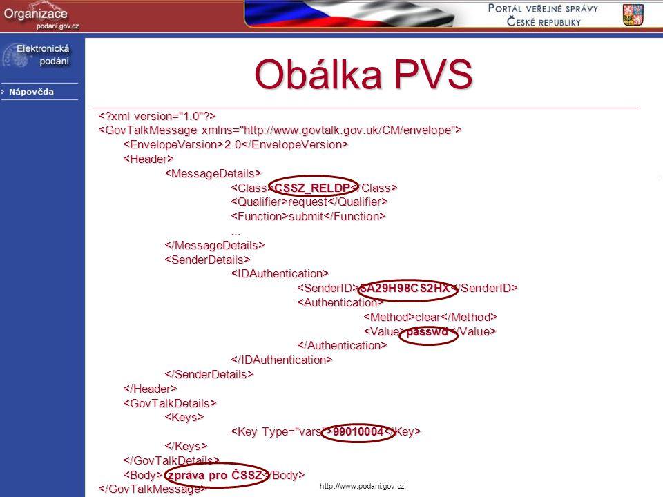 http://www.podani.gov.cz Obálka PVS <EnvelopeVersion>2.0</EnvelopeVersion><Header><MessageDetails> CSSZ_RELDP CSSZ_RELDP <Qualifier>request</Qualifier