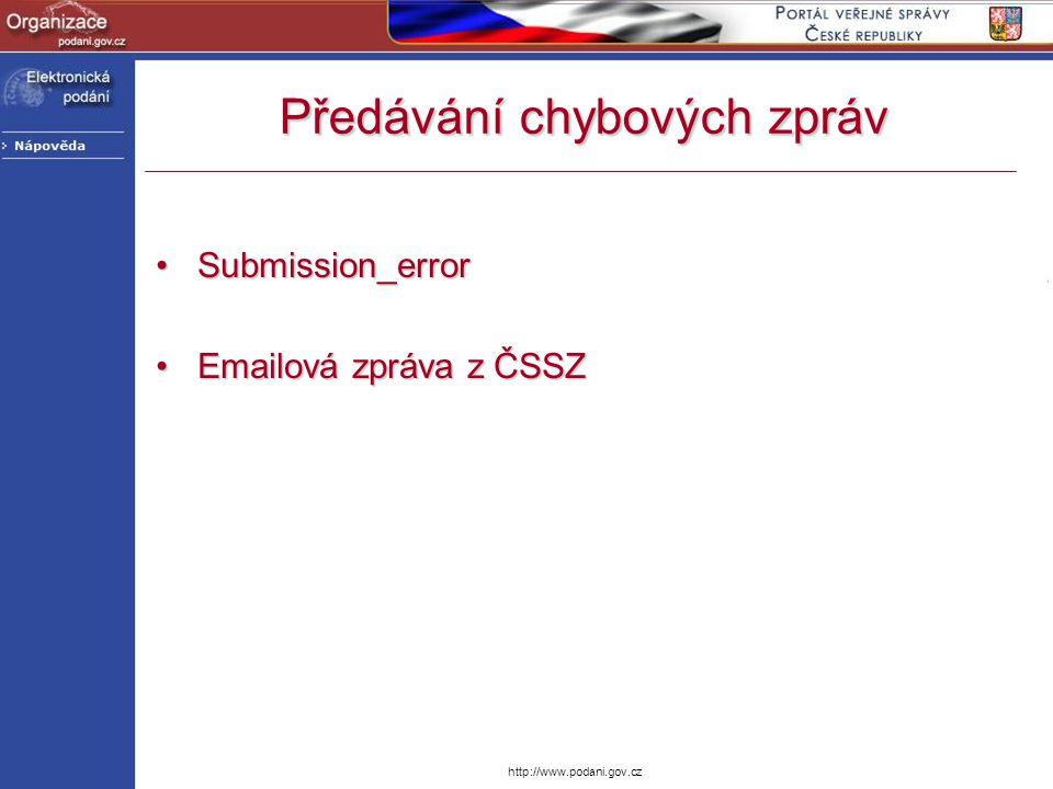 http://www.podani.gov.cz Předávání chybových zpráv Submission_errorSubmission_error Emailová zpráva z ČSSZEmailová zpráva z ČSSZ