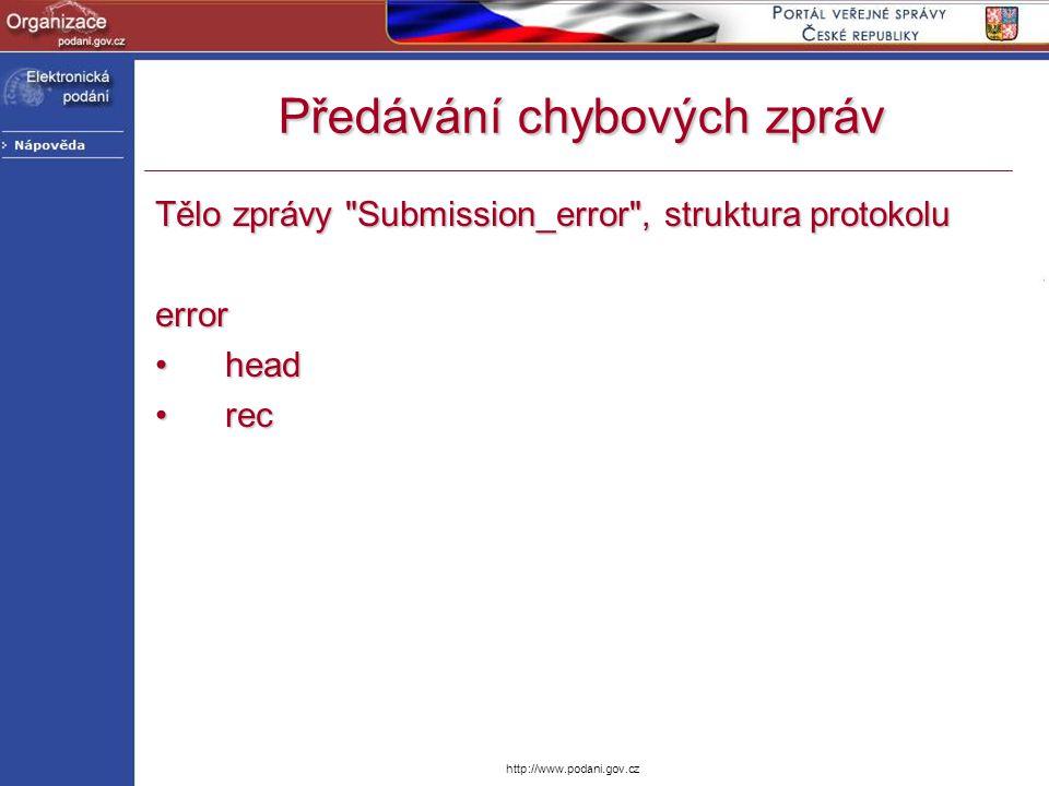 http://www.podani.gov.cz Předávání chybových zpráv Tělo zprávy