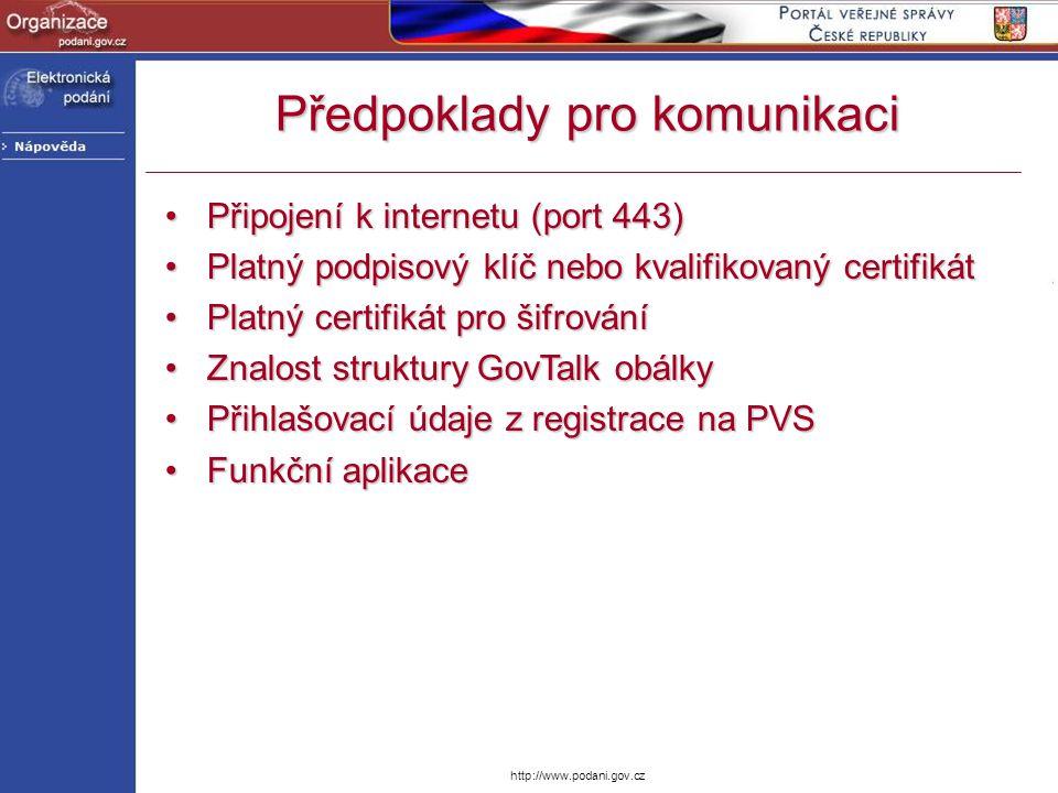 http://www.podani.gov.cz Předpoklady pro komunikaci Připojení k internetu (port 443)Připojení k internetu (port 443) Platný podpisový klíč nebo kvalif