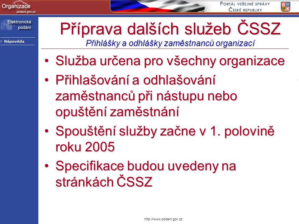 Příprava dalších služeb ČSSZ Přihlášky a odhlášky zaměstnanců organizací Služba určena pro všechny organizaceSlužba určena pro všechny organizace Přih