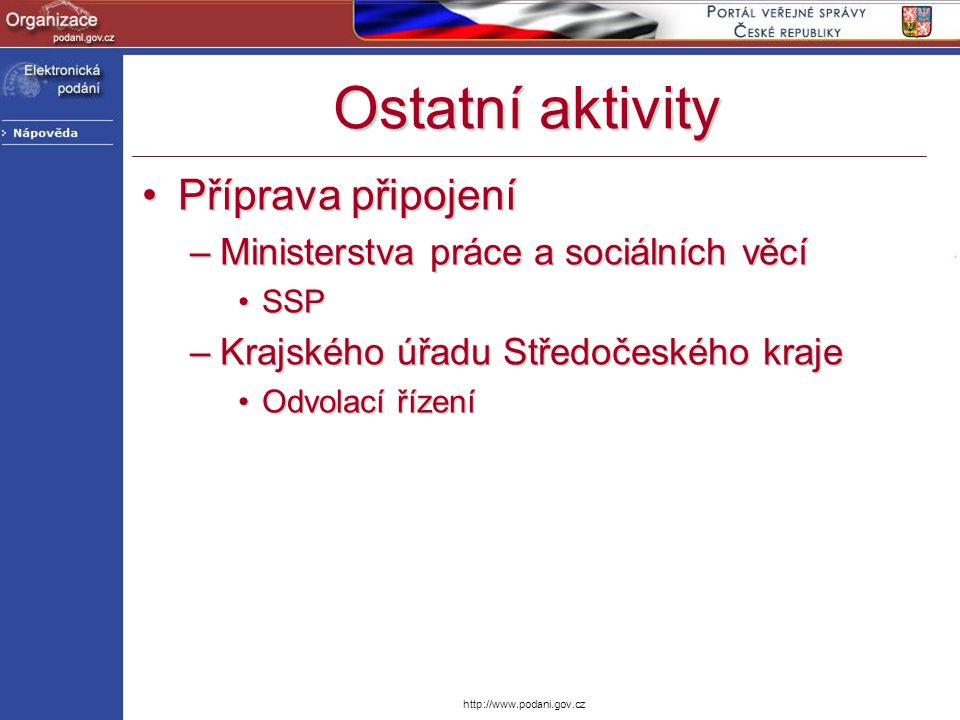 http://www.podani.gov.cz Ostatní aktivity Příprava připojeníPříprava připojení –Ministerstva práce a sociálních věcí SSPSSP –Krajského úřadu Středočes