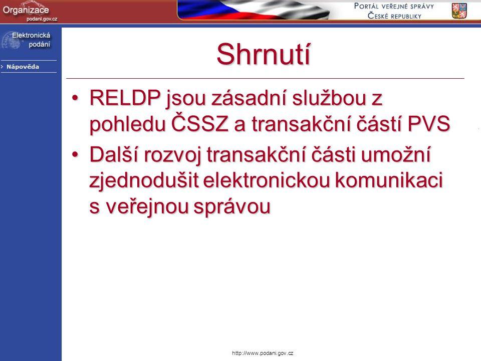http://www.podani.gov.cz Shrnutí RELDP jsou zásadní službou z pohledu ČSSZ a transakční částí PVSRELDP jsou zásadní službou z pohledu ČSSZ a transakčn