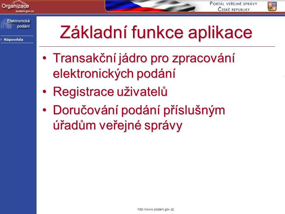 http://www.podani.gov.cz Základní funkce aplikace Transakční jádro pro zpracování elektronických podáníTransakční jádro pro zpracování elektronických