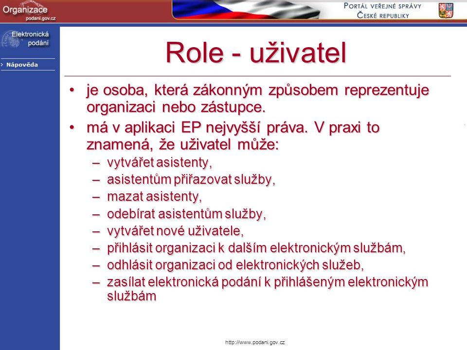 http://www.podani.gov.cz Role - uživatel je osoba, která zákonným způsobem reprezentuje organizaci nebo zástupce.je osoba, která zákonným způsobem rep
