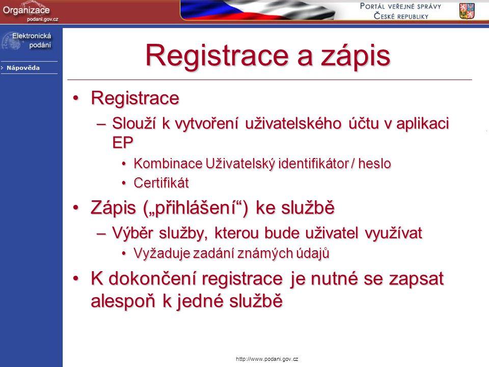 http://www.podani.gov.cz Registrace a zápis RegistraceRegistrace –Slouží k vytvoření uživatelského účtu v aplikaci EP Kombinace Uživatelský identifiká