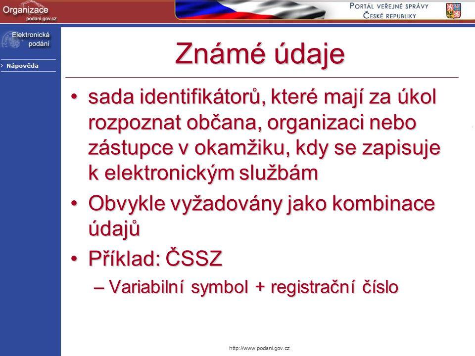 Známé údaje sada identifikátorů, které mají za úkol rozpoznat občana, organizaci nebo zástupce v okamžiku, kdy se zapisuje k elektronickým službámsada