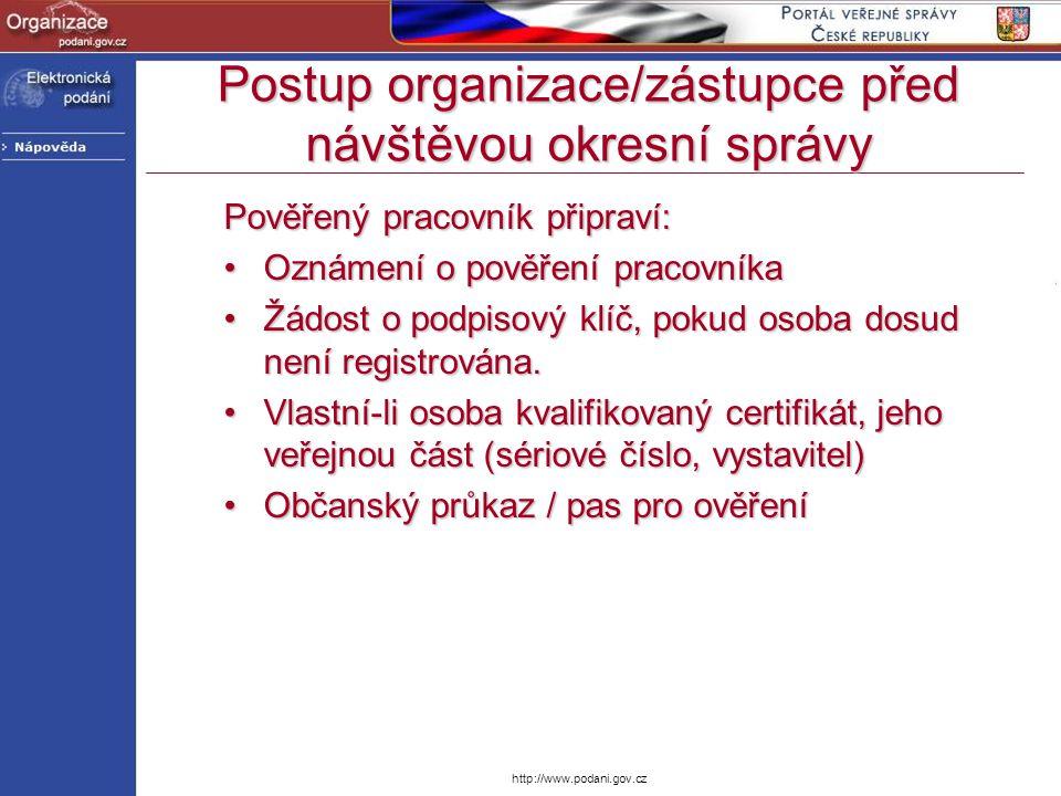 http://www.podani.gov.cz Pověřený pracovník připraví: Oznámení o pověření pracovníkaOznámení o pověření pracovníka Žádost o podpisový klíč, pokud osob