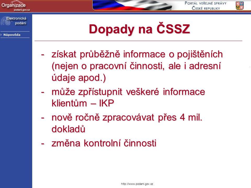 http://www.podani.gov.cz Dopady na ČSSZ -získat průběžně informace o pojištěních (nejen o pracovní činnosti, ale i adresní údaje apod.) -může zpřístup