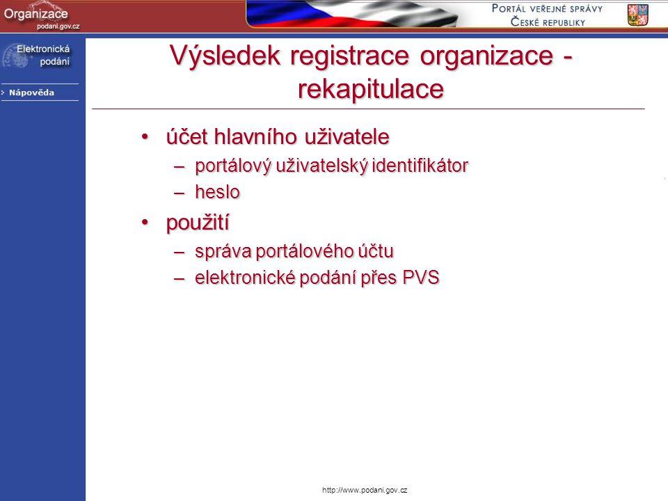 http://www.podani.gov.cz účet hlavního uživateleúčet hlavního uživatele –portálový uživatelský identifikátor –heslo použitípoužití –správa portálového