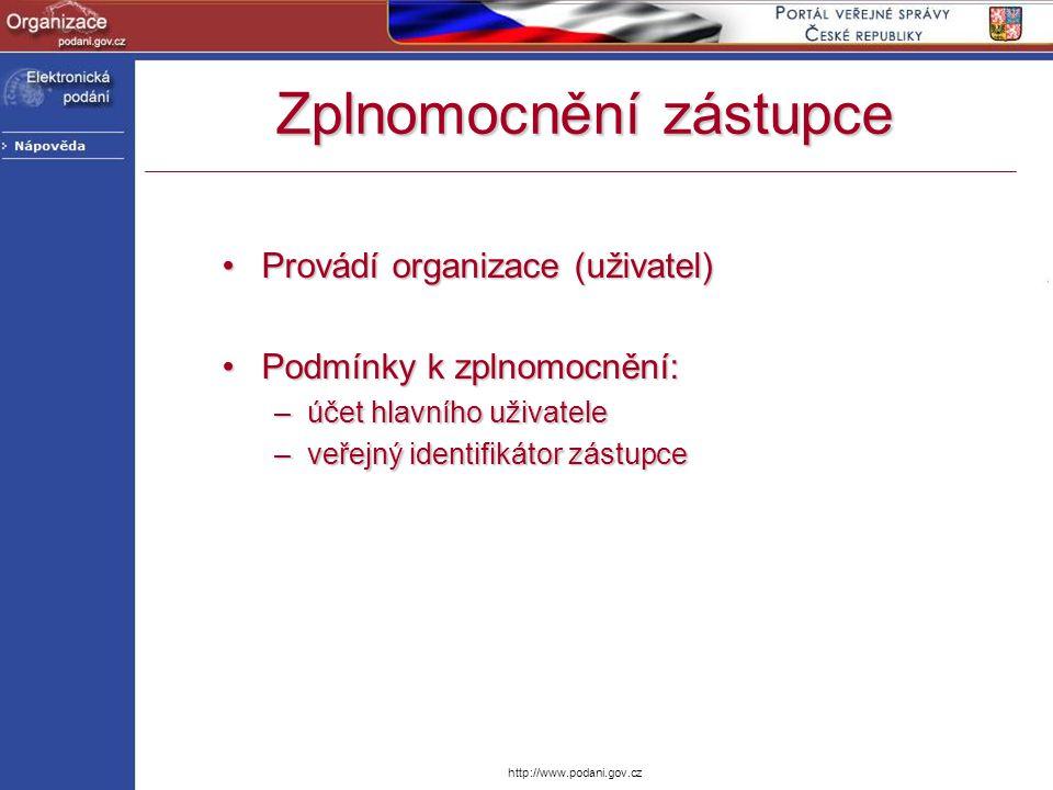 http://www.podani.gov.cz Provádí organizace (uživatel)Provádí organizace (uživatel) Podmínky k zplnomocnění:Podmínky k zplnomocnění: –účet hlavního už