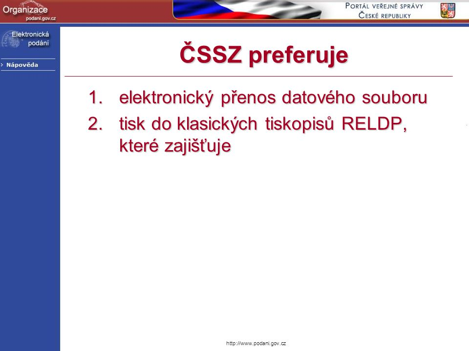 http://www.podani.gov.cz Vkládání do obálky –Microsoft XML Parser // načtení tabulky jmenných prostorů xNtMan = new XmlNamespaceManager(xToGG.NameTable); xNtMan.AddNamespace( gtm , http://www.govtalk.gov.uk/CM/envelope ); xNtMan.AddNamespace( mgm , http://www.cssz.cz/XMLSchema/reldp/envelope ); xNtMan.AddNamespace( mgb , http://cssz.dis.gov.cz/XMLSchema/malorg/VZ ); // získání uzlu Signature xSignature = xFromGG.SelectSingleNode( /gtm:GovTalkMessage/gtm:Body/mgm:RELDPMe ssage/mgm:Header/mgm:Signature , xNtMan); // získání uzlu Body xBody = xFromGG.SelectSingleNode( /gtm:GovTalkMessage/gtm:Body/mgm:RELDPMe ssage/mgm:Body , xNtMan);