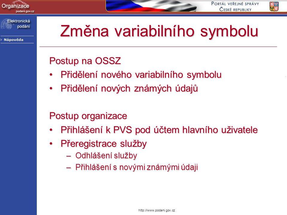 http://www.podani.gov.cz Změna variabilního symbolu Postup na OSSZ Přidělení nového variabilního symboluPřidělení nového variabilního symbolu Přidělen